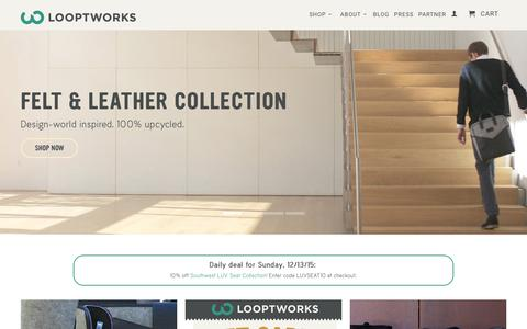 Screenshot of Home Page looptworks.com - Sustainable Products & Upcycled Products | Waste Recycling Solutions - captured Dec. 13, 2015