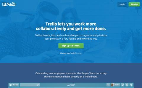 Screenshot of Home Page trello.com - Trello - captured July 30, 2016