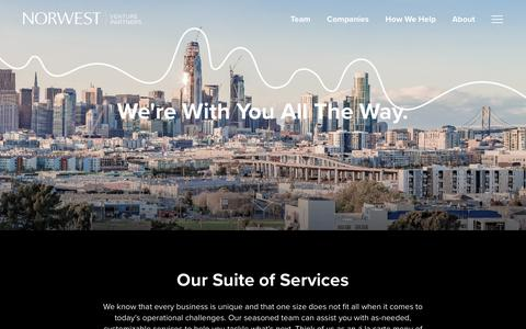 Screenshot of Services Page nvp.com - How We Help • Norwest Venture Partners - captured Oct. 22, 2017