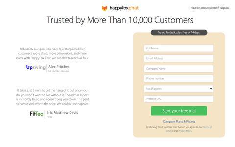 Screenshot of Signup Page happyfoxchat.com - HappyFox Chat - captured May 4, 2017