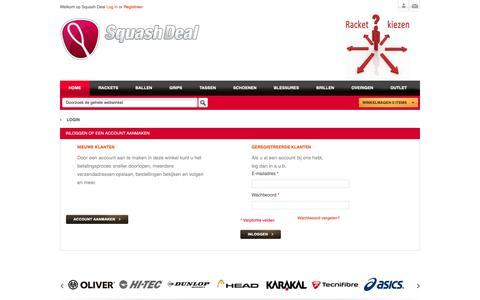 Screenshot of Login Page squashdeal.nl - Klant-login - captured Nov. 4, 2018