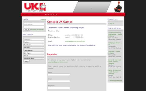Screenshot of Contact Page ukgrecruitment.com - UK Games - Computer Games Industry Recruitment Agency - Contact Us - captured Oct. 3, 2014