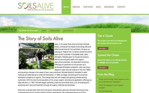 Screenshot of About Page soilsalive.com - About Soils Alive - Soils Alive, Inc. - Organic Lawn Care - Dallas, TX - captured Oct. 7, 2014