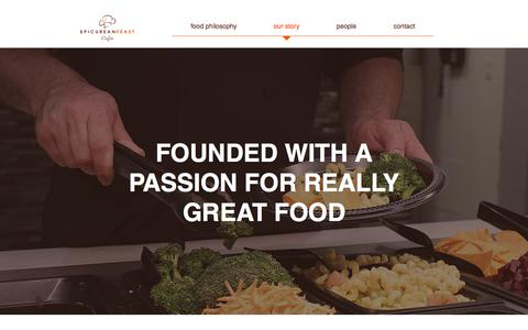 Screenshot of Services Page epicureanfeast.com - Our Story | Epicurean Feast Cafés - captured July 20, 2018