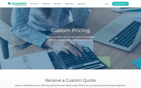 Screenshot of Pricing Page sysomos.com - Request Quote | Sysomos - captured July 12, 2019