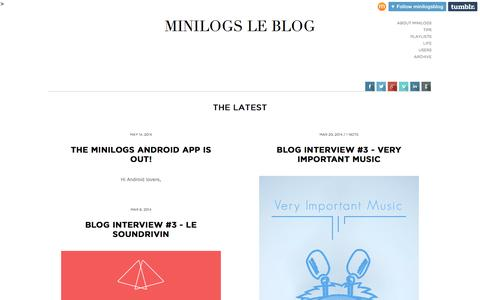 Screenshot of Blog minilogs.com - MINILOGS LE BLOG - captured Sept. 16, 2014