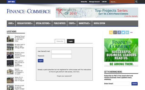 Screenshot of Login Page finance-commerce.com - Finance & Commerce - captured Sept. 25, 2014