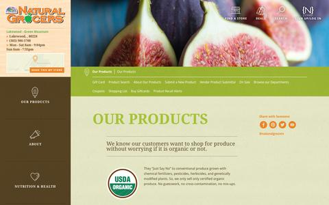 Screenshot of Products Page naturalgrocers.com - Our Products - captured Feb. 9, 2016