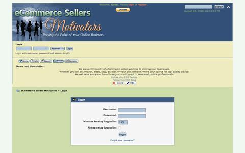 Screenshot of Login Page ecommercesellersmotivators.com - Login - captured Aug. 23, 2016