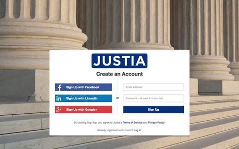 Screenshot of Signup Page justia.com - Sign Up - Justia Accounts - captured Nov. 23, 2015