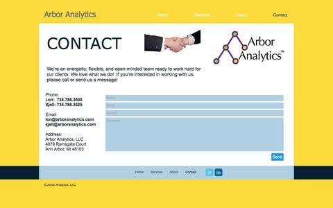 Screenshot of Contact Page arboranalytics.com - Arbor Analytics Contact - captured Nov. 21, 2016