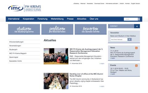 Screenshot of Press Page fh-krems.ac.at - Aktuelles - IMC University of Applied Sciences Krems - captured Nov. 18, 2016