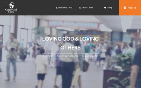 Screenshot of Home Page cottonwoodcreek.org - Cottonwood Creek Church // 1015 Sam Rayburn Tollway, Allen, TX 75013 // 972-359-7777 - captured Feb. 1, 2016