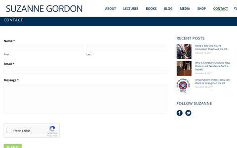 Screenshot of Contact Page suzannecgordon.com - Contact - Suzanne Gordon - captured Feb. 18, 2018