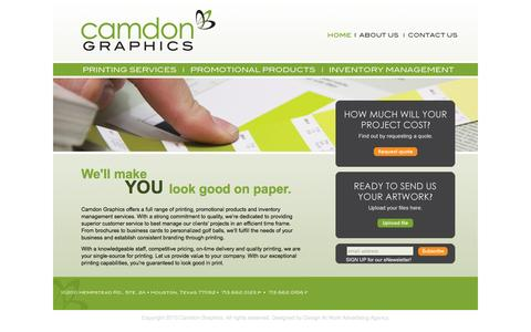 Screenshot of Home Page camdongraphics.com - Full Range Offset and Digital Printing in Houston Texas - Camdon Graphics - captured Sept. 29, 2014