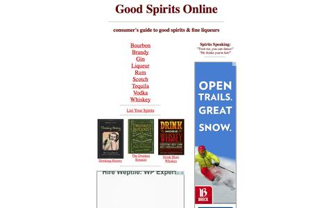 Screenshot of Home Page goodspiritsonline.com - good spirits online ~ consumers guide to spirits and fine liqueurs - captured Sept. 24, 2014