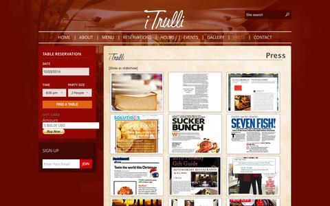 Screenshot of Press Page itrulli.com - Press | I Trulli - captured Oct. 3, 2014