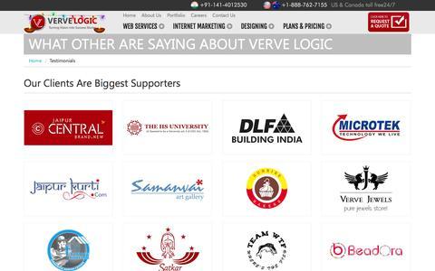 Screenshot of Testimonials Page vervelogic.com - Verve Logic   Testimonials - captured Oct. 26, 2014