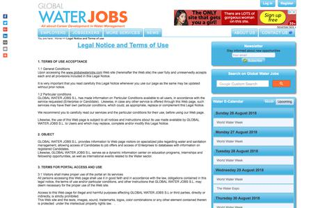 Screenshot of Terms Page globalwaterjobs.com - Legal Notice and Terms of use - Global Water Jobs - captured July 20, 2018