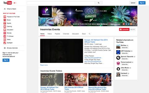 Screenshot of YouTube Page youtube.com - Insomniac Events  - YouTube - captured Oct. 23, 2014