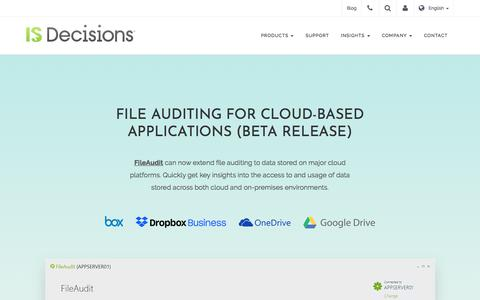 Screenshot of Signup Page isdecisions.com - File Auditing for Cloud-Based Applications - captured July 13, 2018