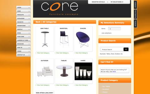 Screenshot of Products Page corefurniture.co.za - Please Select | Core Furniture Concepts - captured Oct. 2, 2014