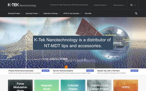Screenshot of Home Page kteknano.com - K-tek Nanotechnology | Your #1 Source for High-Quality AFM/SPM Probes and Cantilevers - captured Oct. 4, 2014
