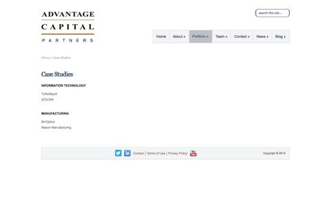 Screenshot of Case Studies Page advantagecap.com - Case Studies | Advantage Capital Partners - captured Sept. 13, 2014