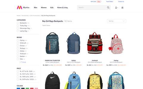 Screenshot of myntra.com - Boy Girl Bags Backpacks - Buy Boy Girl Bags Backpacks online in India - captured Oct. 23, 2017