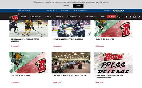 Screenshot of Press Page rapidcityrush.com - News - captured Oct. 20, 2018