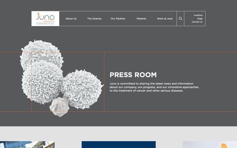 Screenshot of Press Page junotherapeutics.com - Press Room | Juno Therapeutics - captured Oct. 7, 2017