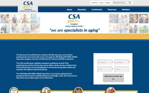 Screenshot of Home Page csa.us - Society of Certified Senior Advisors - captured Sept. 27, 2018