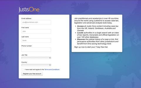Screenshot of Trial Page justis.com - JustisOne - Registration - captured Oct. 16, 2017