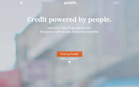 Screenshot of Home Page puddle.com - Puddle – Credit powered by people. - captured Oct. 3, 2014