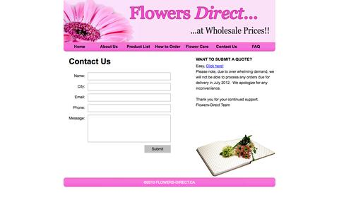 Screenshot of Contact Page flowers-direct.ca - Flowers Direct..Contact Us - captured Oct. 6, 2014