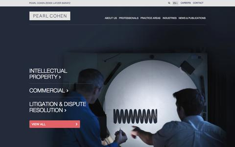 Screenshot of Home Page pearlcohen.com - Patents | Intellectual Property | International Law Firm | Pearl Cohen Zedek Latzer Baratz - captured June 18, 2015