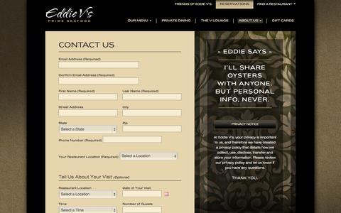 Screenshot of Contact Page eddiev.com - Eddie V's Prime Seafood - captured Sept. 23, 2014
