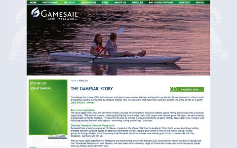 Screenshot of About Page gamesail.co.nz - About Us, Gamesail - gamesil, nz sailing charter, charter boat, Te Okupu, luxury catamaran, allinclusive sailing vacation New Zealand, NZ luxury yacht charter - captured Oct. 2, 2014