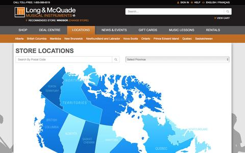 Screenshot of Locations Page long-mcquade.com - Music Stores - Long & McQuade Locations - captured June 25, 2016