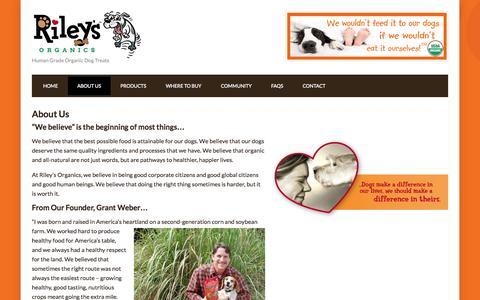Screenshot of About Page rileysorganics.com - About Us - Riley's Organics - captured Oct. 26, 2014