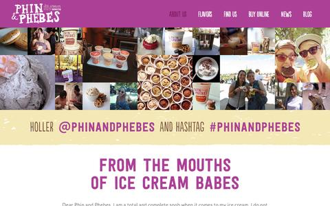 Screenshot of Testimonials Page phinandphebes.com - Customer Testimonials | Phin & Phebes Ice Cream from Brooklyn, New York! - captured Sept. 20, 2016