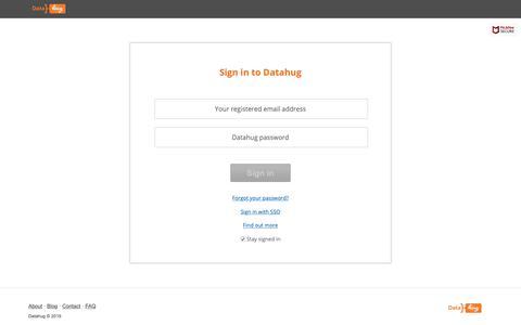 Screenshot of Login Page datahug.com - Sign in | Datahug - captured June 14, 2019