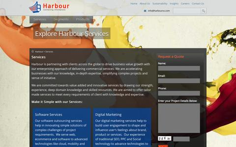 Screenshot of Services Page harbourco.com - Harbour: Explore Our Business Services Lines - captured Oct. 28, 2014