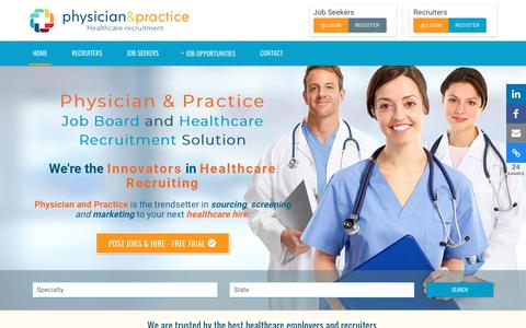 Screenshot of Home Page physicianandpractice.com - Physician Job Board and Healthcare Recruitment | Physician & Practice - captured Sept. 28, 2018
