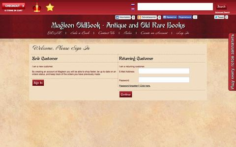 Screenshot of Login Page magleon.com - Magleon - Antique and old rare books. Bookseller. Search and selling books. - captured Oct. 4, 2014