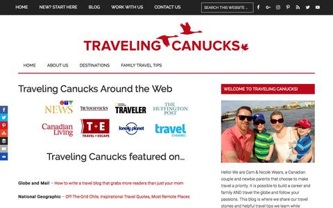 Screenshot of Press Page travelingcanucks.com - Traveling Canucks Interviews and Guest Posts - captured June 1, 2017