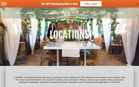 Screenshot of Locations Page katherines.com - Event Locations for Katherine's Catering - Michigan - captured Oct. 15, 2018