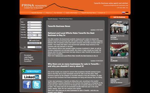 Screenshot of Press Page tenerife-business.com - Tenerife Business News - FRINA Tenerife - captured Jan. 20, 2016