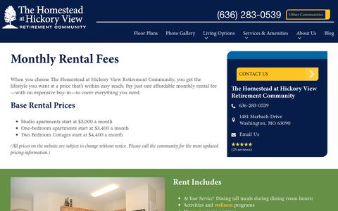 Screenshot of Pricing Page spectrumretirement.com - Monthly Rental Pricing | The Homestead at Hickory View Retirement Community - captured Oct. 23, 2018