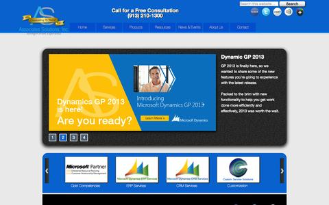 Screenshot of Home Page associates-solutions.com - Associates Solutions is a Microsoft Dynamics Solution Provider serving Kansas City, Des Moines, St. Louis, Omaha, Tulsa, Iowa, Oklahoma, Nebraska - captured Oct. 4, 2014